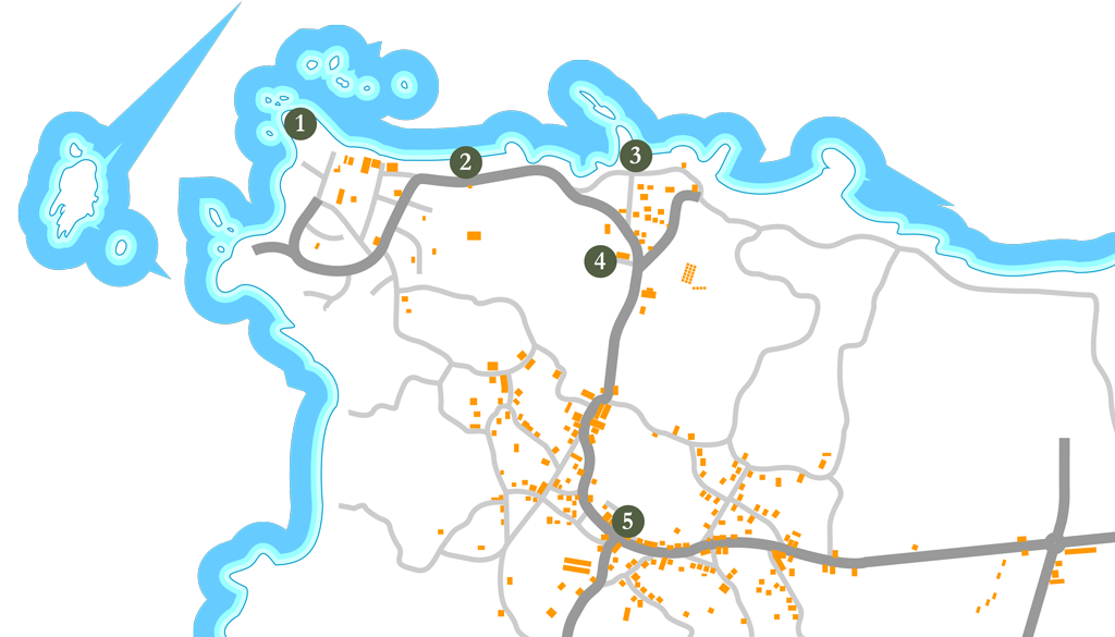 Ruta de Adro Vello sobre el mapa de San Vicente
